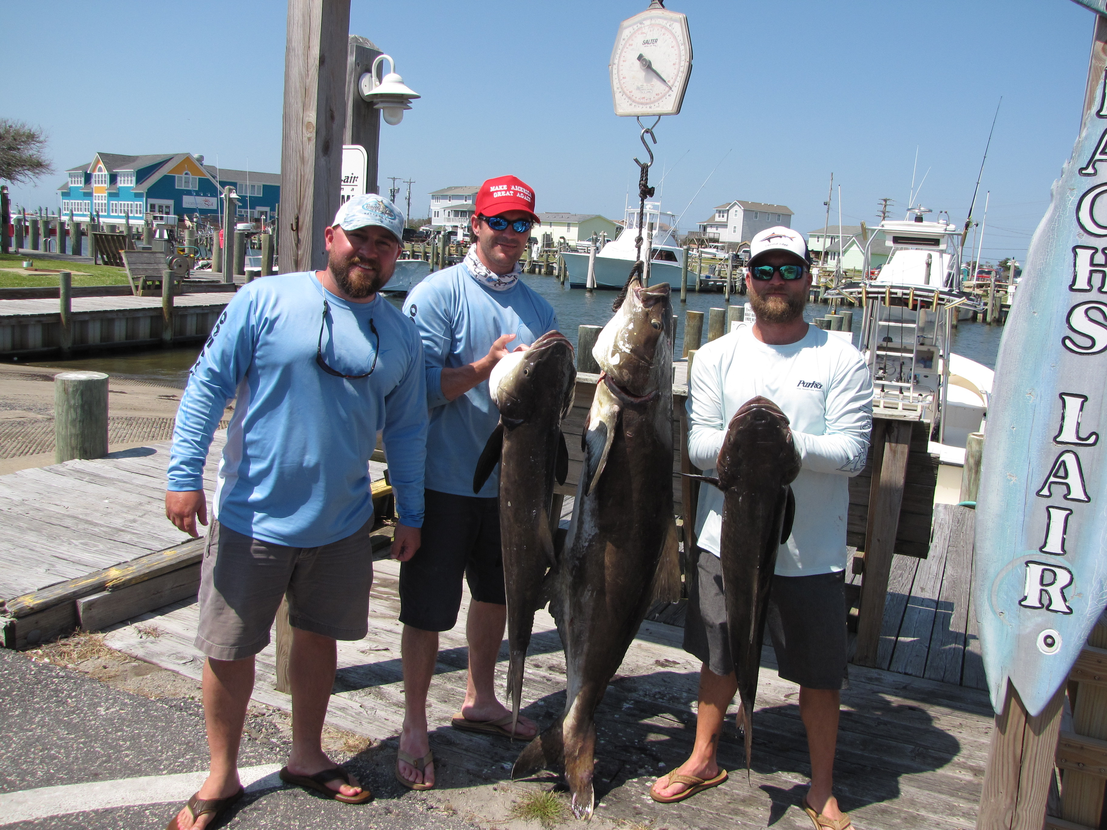Billy and Suki with 250 pounds of Cobia in less than 3 Hours Aboard the Elizabeth Grace.  Veterans of the Patriot Guard..